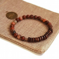 Poppy Jasper & Wood Bead Bracelet