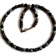 Men's Gemstone Necklace, Surfer Beaded Necklace