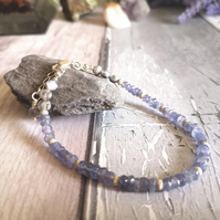 Sterling Silver And Tanzanite Bracelet & Freshwater Pearls
