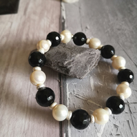 Freshwater Cultured Pearl, Agate And Sterling Silver Chunky Bracelet