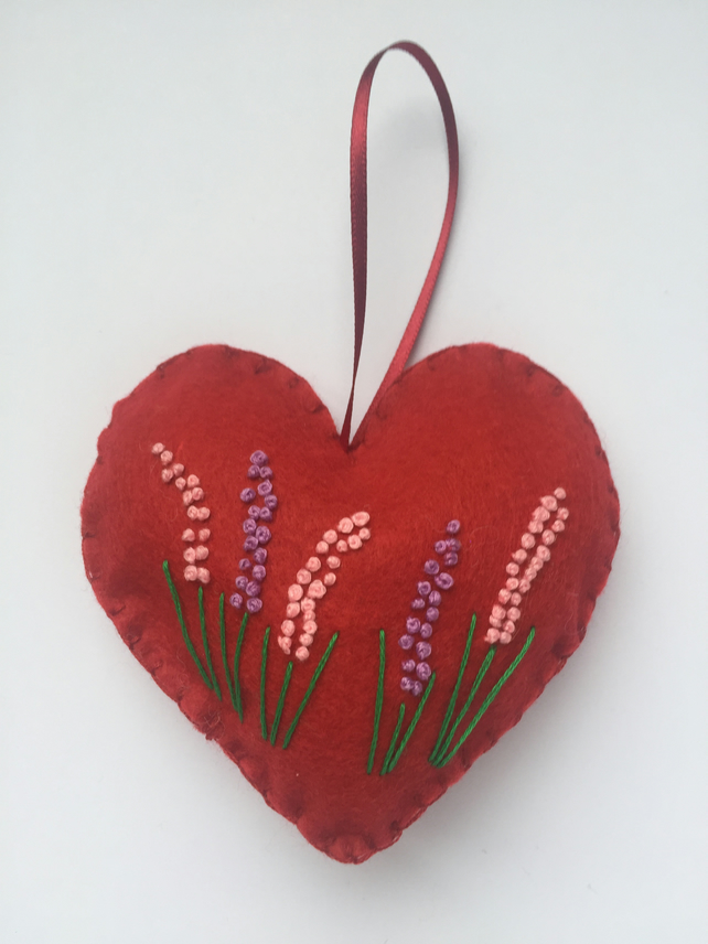 Felt floral hanging heart decoration