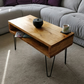 Reclaimed Wooden Double Level  Coffee Table with Steel Hairpin Legs