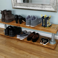 Reclaimed Wood and Steel Pole Double Level Shoe Rack