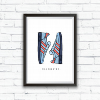 adidas GT Manchester SPZL trainer A4 Illustrated Print, Mancunian