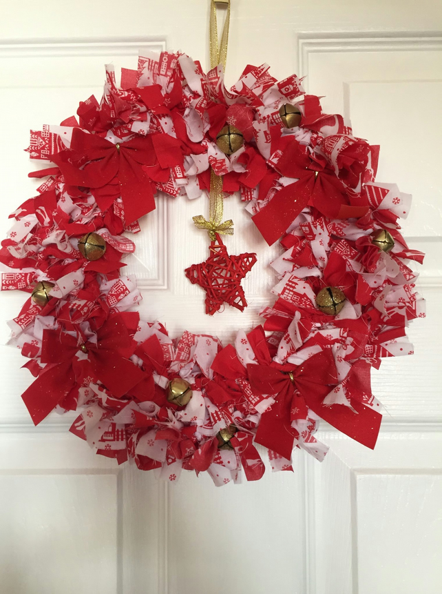 Red Fabric Rag Wreath