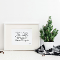 Have a Holly Jolly Christmas, hand lettered Christmas art print
