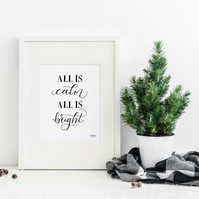 All is Calm, All is Bright, hand lettered Christmas art print