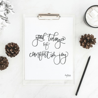 Good Tidings of Comfort and Joy, hand lettered Christmas art print