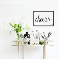 Cheers, hand lettere art print