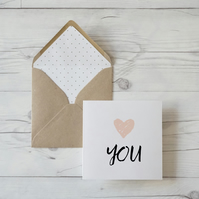Heart You, hand lettered love card with luxury kraft envelope
