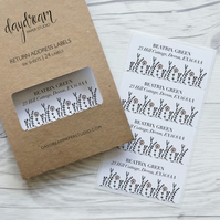 Wildflowers, personalised return address labels