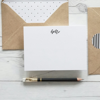 Hello, hand lettered luxury notecards