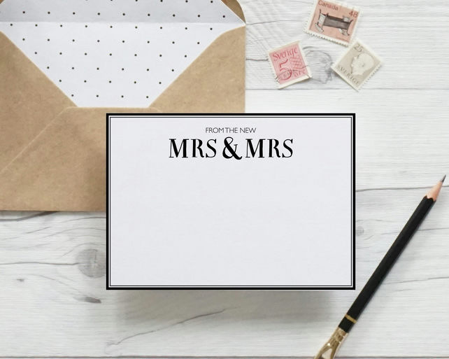 From the new Mrs & Mrs, hand lettered luxury notecards
