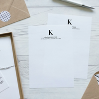 Monogram, personalised luxury writing paper