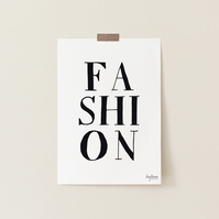 FASHION, hand lettered fashion typography art print