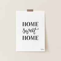 Home Sweet Home, hand lettered art print
