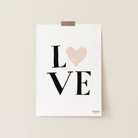 Love, hand lettered and illustrated art print