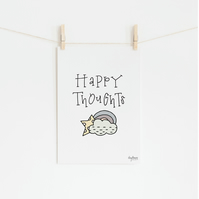 Happy Thoughts, hand lettered art print