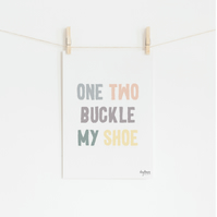 One, Two Buckle my Shoe, hand lettered art print
