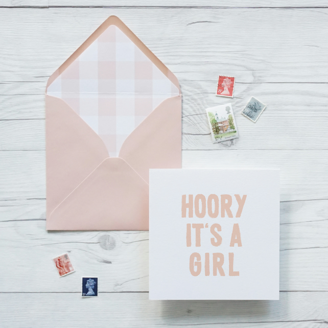 Hooray It's A Girl, hand lettered luxury new baby card