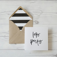 Let's Party, hand lettered luxury birthday card