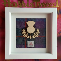 Harris Tweed and Birch Wood Scottish Thistle Flower of Scotland Picture