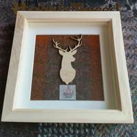 Harris Tweed and Birch Wood Stag Picture