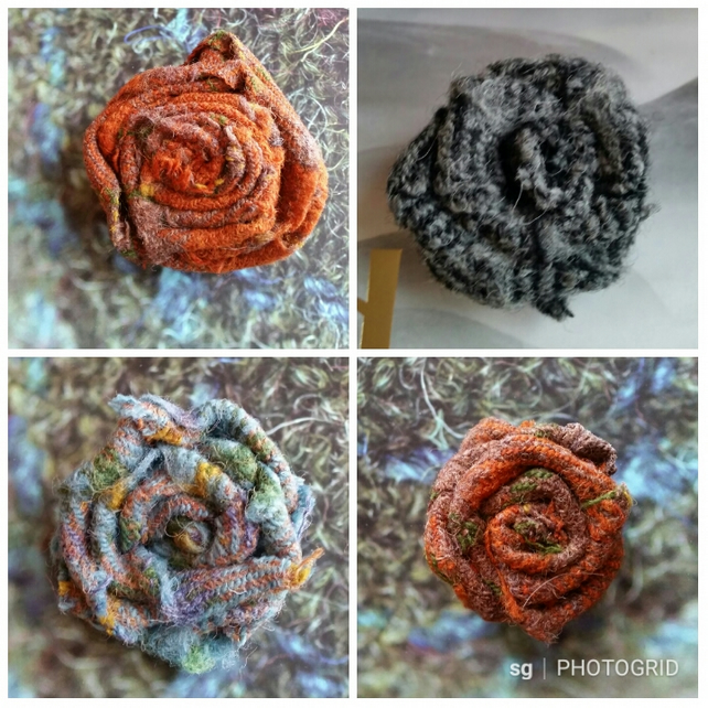Harris Tweed Flower Brooch