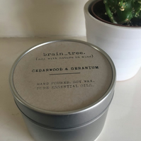Cedarwood and Geranium soy wax candle in silver tin with pure essential oils