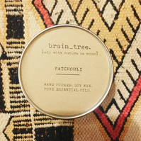 Patchouli soy wax candle in silver tin with 100% pure essential oils