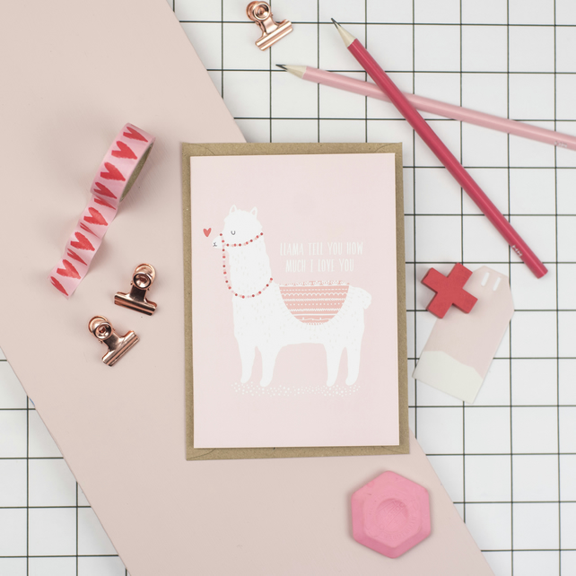 A6 Llama Tell You How Much I Love You Card