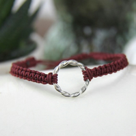Twisted Hopp Silver Friendship Bracelet with Crimson Red Adjustable Cord