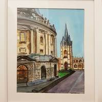 Watercolor landscape in Oxford Radcliffe Camera