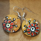 Hand painted earrings on wood