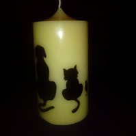 Ivory dog, cat and mouse small cylinder candel