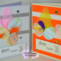 Easter Card eggs and feathers