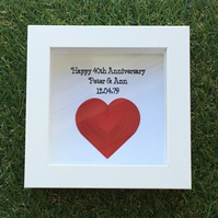 Personalised Anniversary Frame, Ruby Anniversary