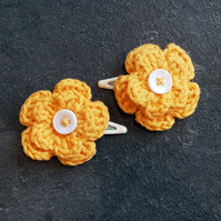 Bright Yellow Crochet Flower Clips