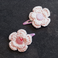 Baby Pink Crochet Flower Clips