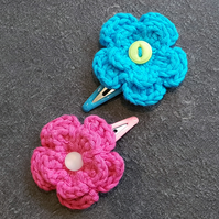 Bright Pink and Blue Crochet Flower Clips