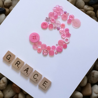 Age 5 - 5th Personalised Luxury Handmade Birthday Button Card