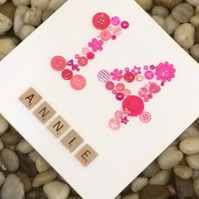 Age 14 - 14th Personalised Luxury Handmade Birthday Button Card