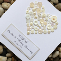 Personalised 30th Pearl Wedding Anniversary Card, Handmade Card, Button Card