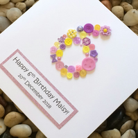 Personalised 6th Birthday Card, Handmade 6th Birthday Card, 5th, 7th, 8th, 9th