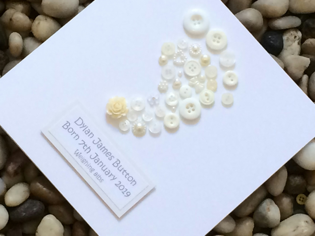 Personalised Christening Day Card For Girl or Boy, Handmade Christening Card