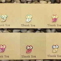 Handmade Owl Thank You Cards Pack, Notelets, Thank You Teacher, Rustic