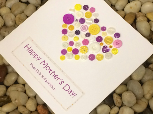 Personalised Mother's Day Card, Handmade Mother's Day Card, Heart Card