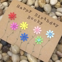 Personalised Happy Birthday Card, Handmade Card, For Her, For Friend, Flowers