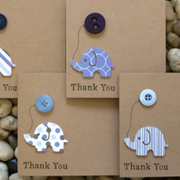 Handmade Thank You Cards, Pack of 4, For Boy, Elephant and Balloon, Newborn Baby