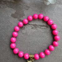 Pink Beaded Stretchy Stackable Bracelet with Owl Charm
